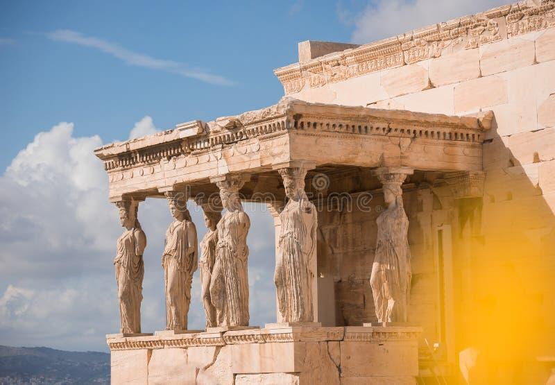 Caryatids of acropolis stock photos