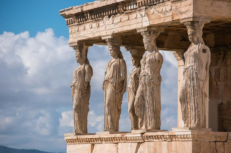 Caryatids of Acropolis royalty free stock photos