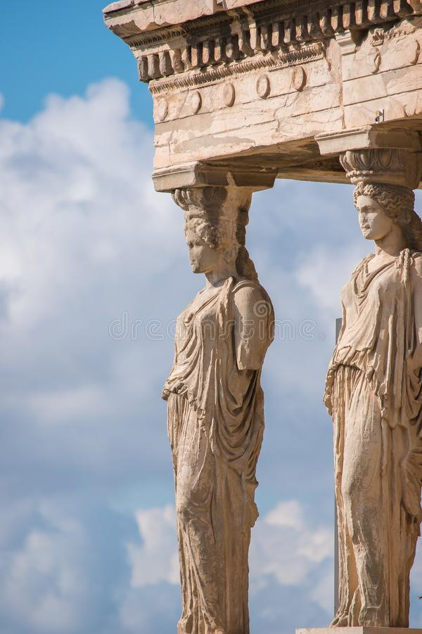 Caryatids of Acropolis royalty free stock images