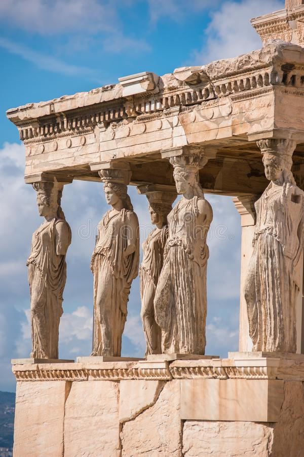 Caryatids of Acropolis. A caryatid is a sculpted female figure serving as an architectural support taking the place of a column or a pillar supporting an royalty free stock image