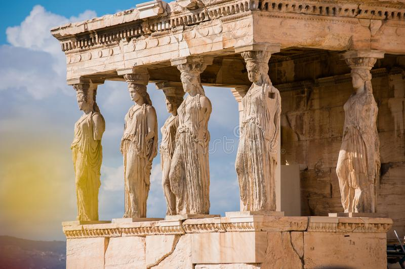 Caryatids of Acropolis royalty free stock photo