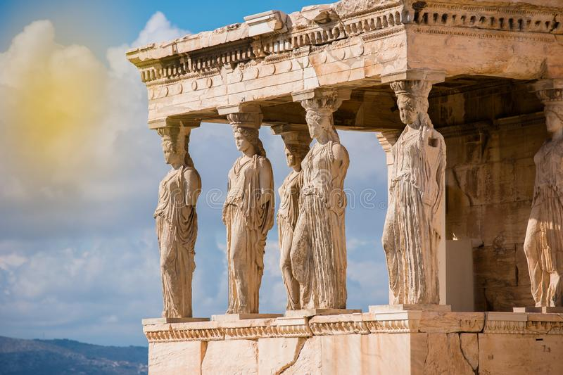 Caryatids of Acropolis. A caryatid is a sculpted female figure serving as an architectural support taking the place of a column or a pillar supporting an stock photo