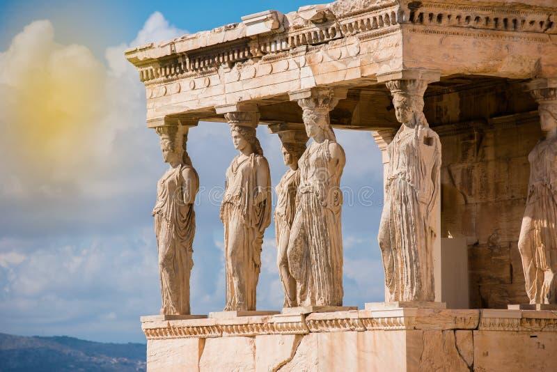 Caryatids of Acropolis stock photo