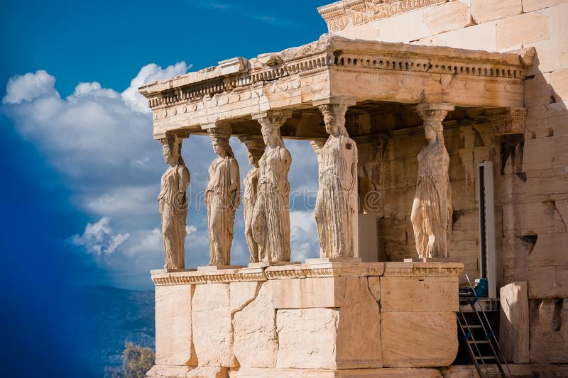Caryatids of Acropolis. A caryatid is a sculpted female figure serving as an architectural support taking the place of a column or a pillar supporting an royalty free stock images