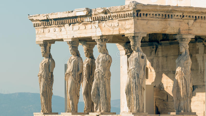 Caryatids at Acropolis in Greece against the sky. royalty free stock photo