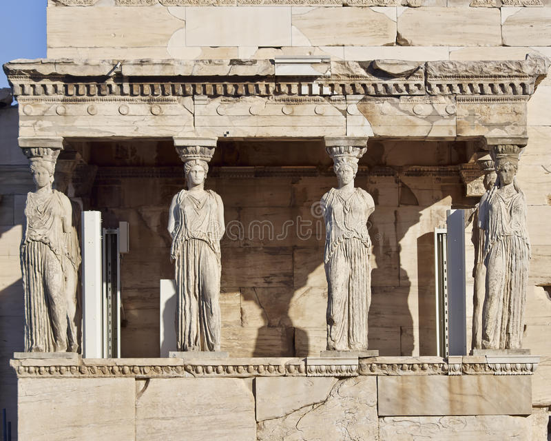 Caryatids ancient statues, erechteion temple, Greece. Caryatids ancient statues, erechteion temple, Athens Greece royalty free stock photography