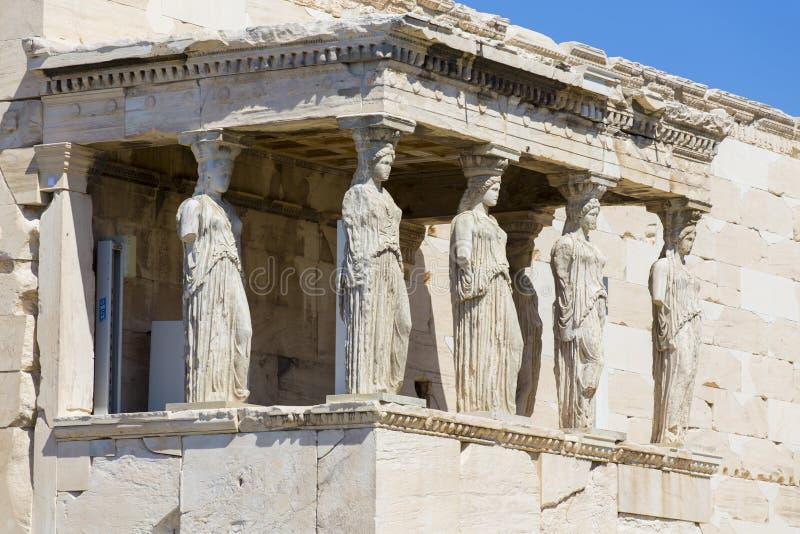 Caryatids. From Aphrodite temple on Pantheon, Athens Greece stock image