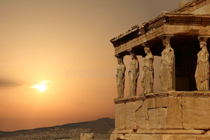 Caryatids on the Athenian Acropolis at sunset. Greece stock image