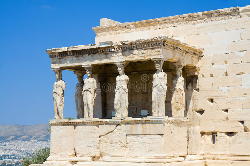 Caryatids at Athens. Caryatids - female statue columns at the Erechtheion, Acropolis, Athens royalty free stock photography