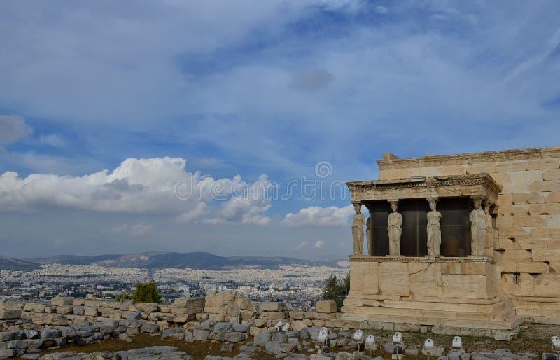 Caryatids Erechteion, Parthenon on the Acropolis in Athens. Caryatids, Erechteion, Parthenon on the Acropolis in Athens, Greece royalty free stock photo