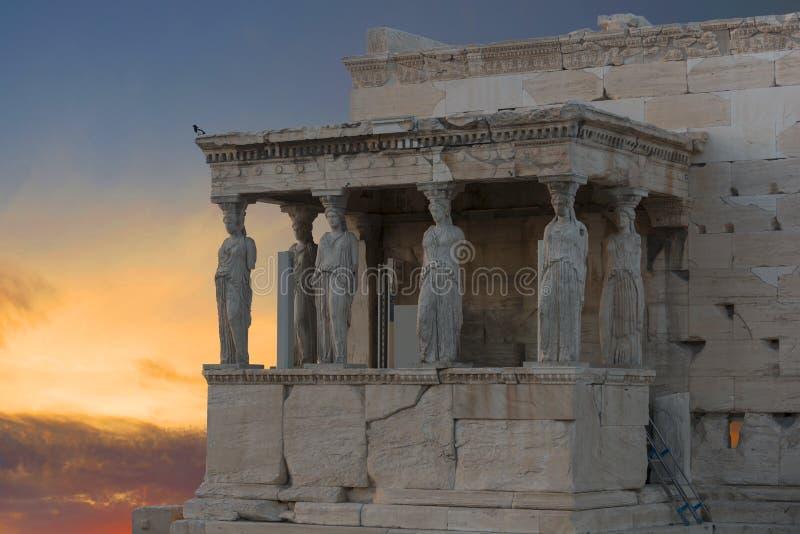 Caryatids, Erechteion, Parthenon on the Acropolis in Athens,. Sunset at Caryatids , Parthenon on the Acropolis stock photo
