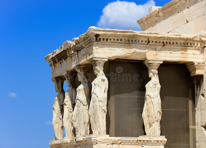 The caryatids. In the Erechteion temple ruins, Acropolis, Athens, Greece stock photos