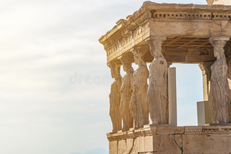 The Caryatids of the Erechtheion in Acropolis, Athens Greece stock photos