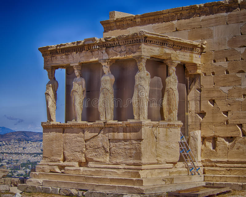 Caryatids and erechtheion temple. Athens Greece royalty free stock photo