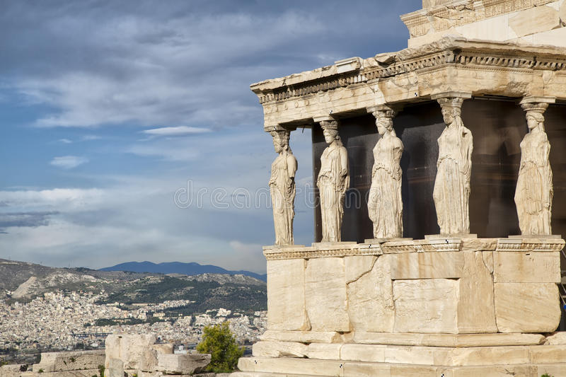 Caryatids at Erechtheum. Of Parthenon in Athens Greece Erechtheion royalty free stock image