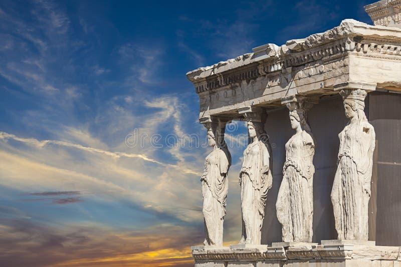 Caryatids in Erechtheum. From Athenian Acropolis,Greece royalty free stock photos