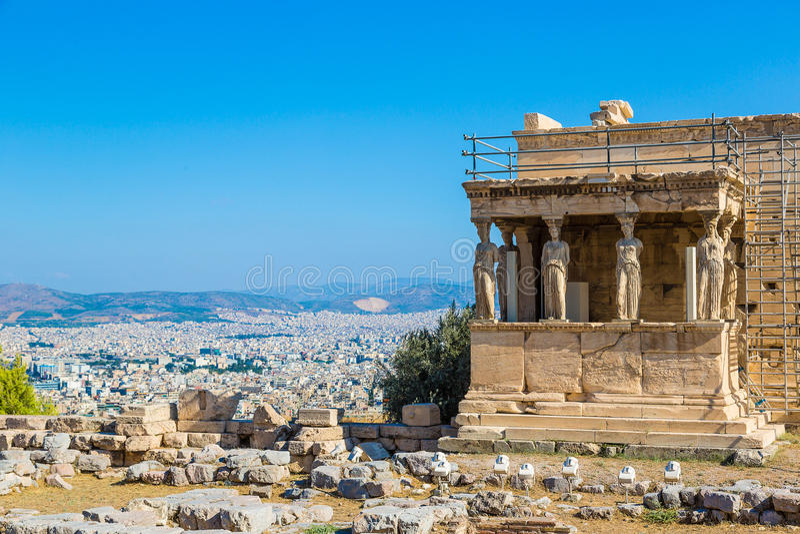Caryatids, Erechtheum temple on the Acropolis stock image