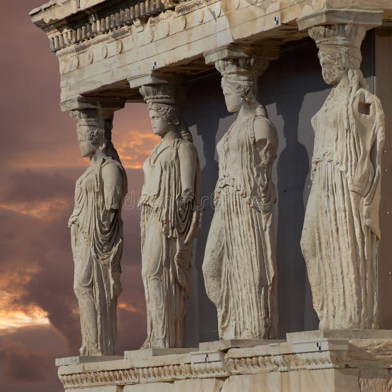 Caryatids, erechtheum temple Athens, Greece. Caryatids, erechtheum temple on Acropolis of Athens, Greece royalty free stock photography