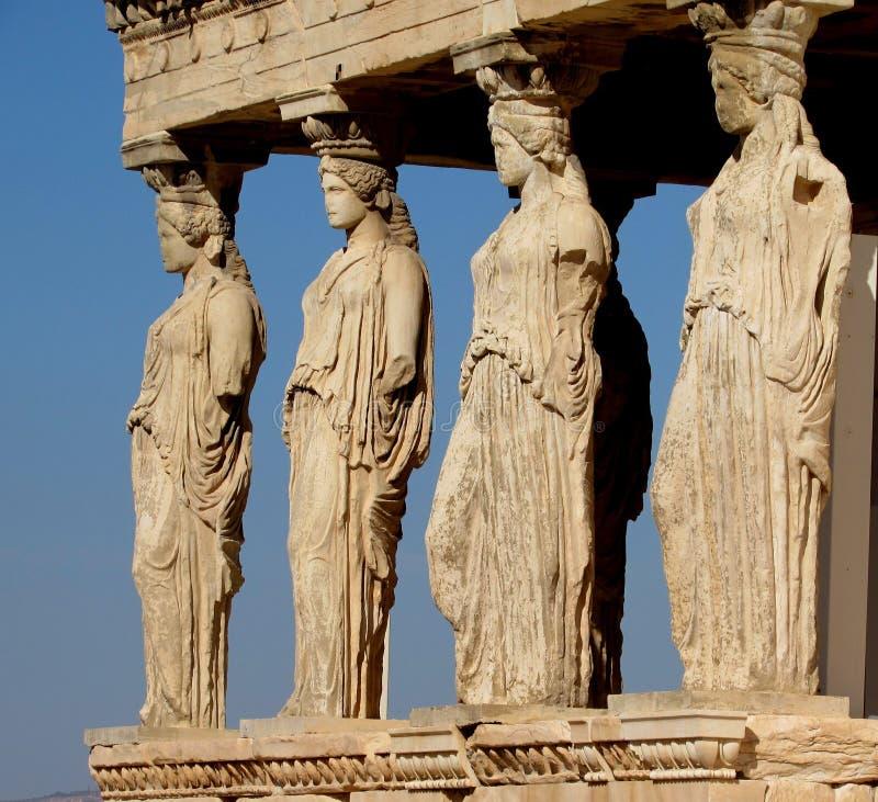 The Caryatids, Greece stock photography