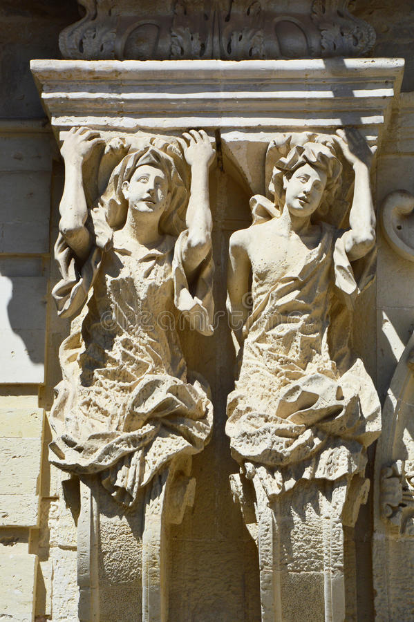 Caryatids of Marrese Palace in Lecce, Apulia, Italy.  royalty free stock photos