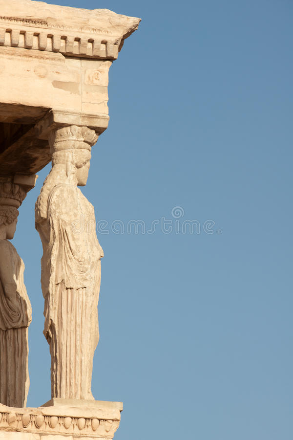 Caryatids. Porch of Caryatids in Erechtheion on Acropolis Hill, Athens stock image
