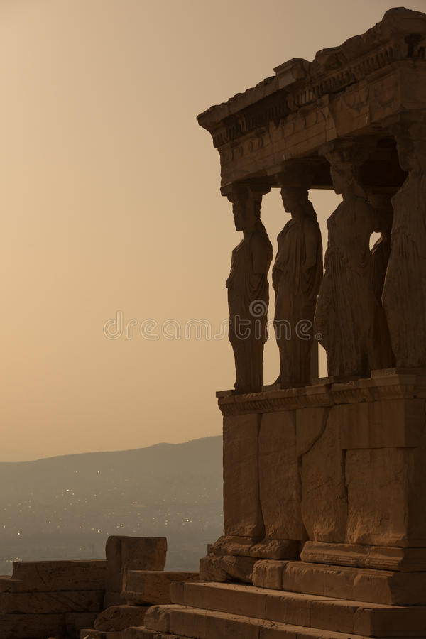 Caryatids. Porch of Caryatids in Erechtheion on Acropolis Hill, Athens royalty free stock photography