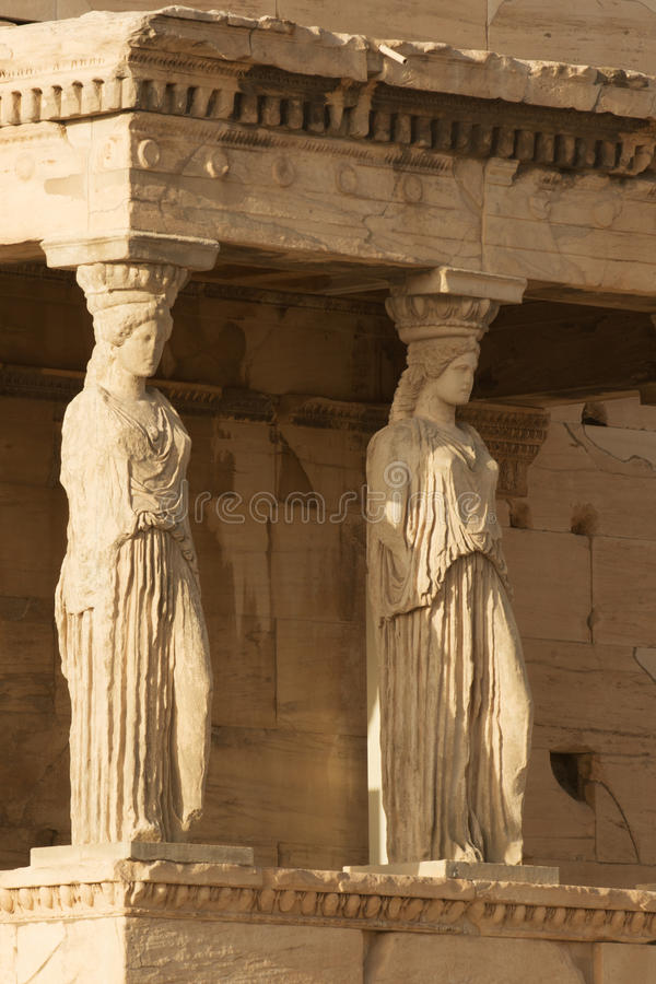 Caryatids. Porch of Caryatids in Erechtheion on Acropolis Hill, Athens royalty free stock photos