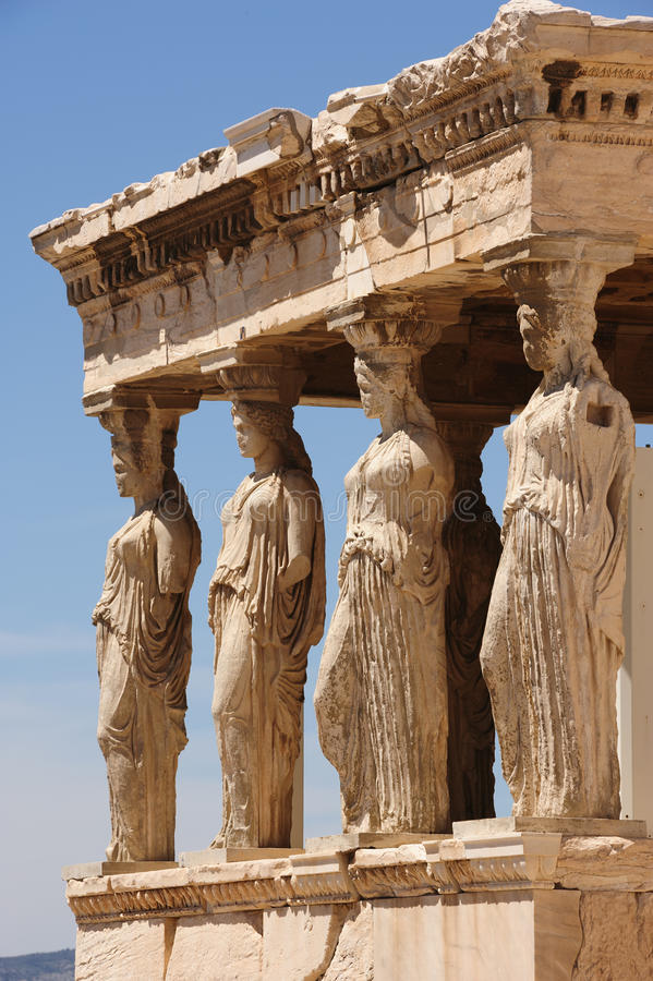 Caryatids at Porch of the Erechtheion, Acropolis. Six Caryatids or karyatides at Porch of the Erechtheion in Acropolis at Athens royalty free stock photography