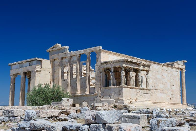 Caryatids at Porch of the Erechtheion, Acropolis. Six Caryatids or karyatides at Porch of the Erechtheion in Acropolis at Athens stock image