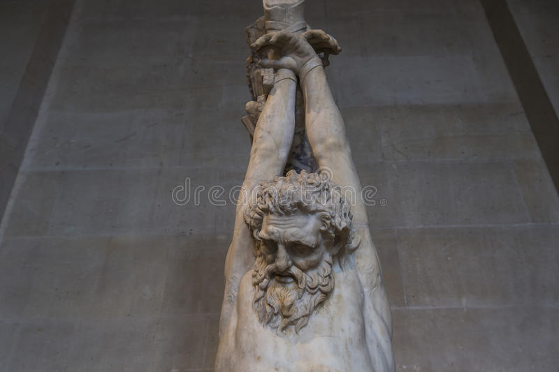 The Caryatids room, The Louvre, Paris, France. A view in PARIS, FRANCE, MARCH 13, 2017 : architectural details of the caryatids room, the Louvre palace, march 13 stock image