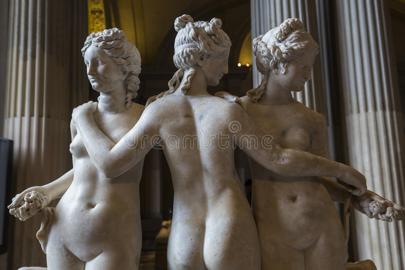 The Caryatids room, The Louvre, Paris, France. A view in PARIS, FRANCE, MARCH 13, 2017 : architectural details of the caryatids room, the Louvre palace, march 13 royalty free stock photography