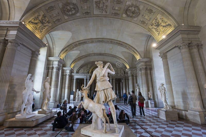 The Caryatids room, The Louvre, Paris, France. A view in PARIS, FRANCE, MARCH 13, 2017 : architectural details of the caryatids room, the Louvre palace, march 13 stock photo