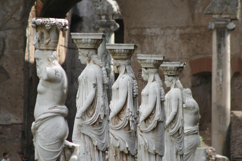 Caryatids and Satyrs. Statues in Canopus of Hadrian's Villa (Tivoli - ITALY stock image