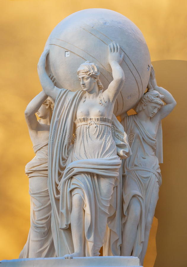 Caryatids. Sculpture caryatids that adorn the Admiralty building in St. Petersburg stock images