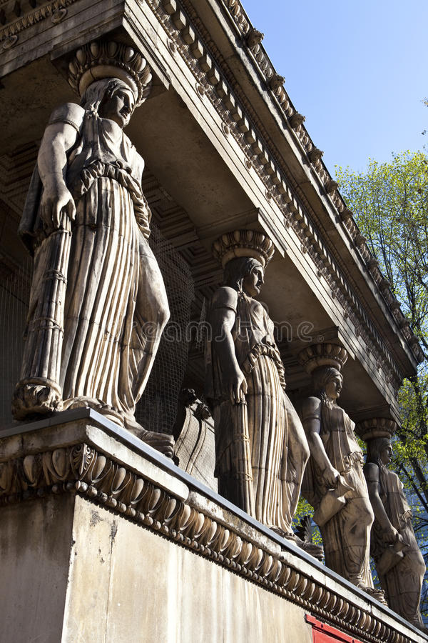 The Caryatids at St Pancras Parish Church. (or also known as St Pancras New Church) in London royalty free stock images