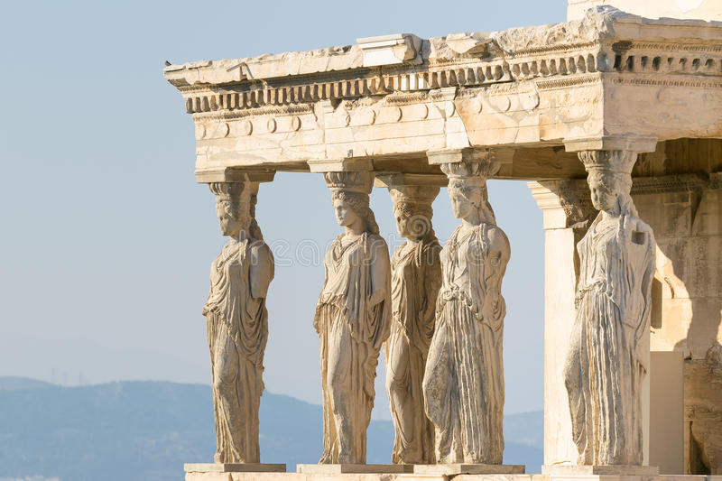 Caryatids statues at Acropolis in Greece. stock images