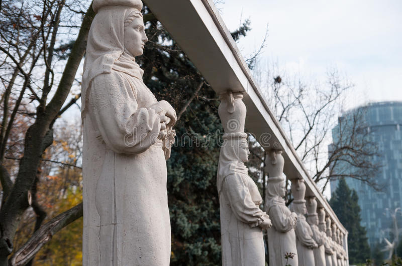 Caryatids statues. Detail of caryatids alley in herastrau park bucharest royalty free stock image