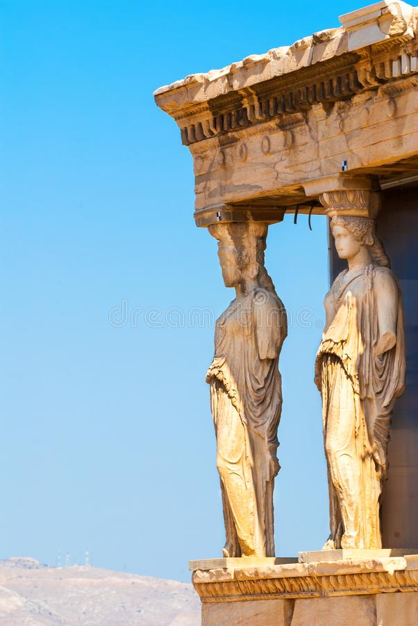 Caryatids statues on the Parthenon on Acropolis Hill, Athens, Greece. Detail of caryatids statues on the Parthenon on Acropolis Hill, Athens, Greece royalty free stock photo