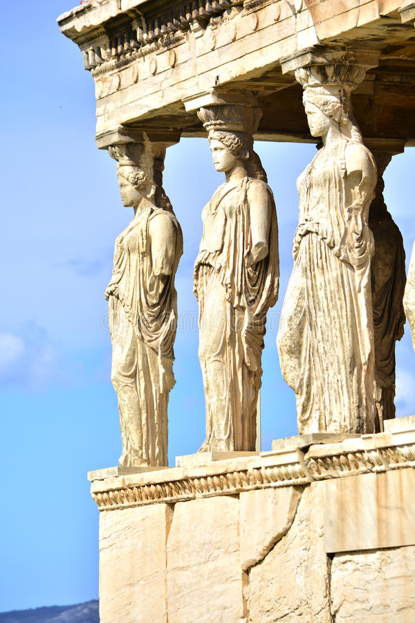 Caryatids. View of the Caryatids on the Acropolis of Athens, Greece stock images