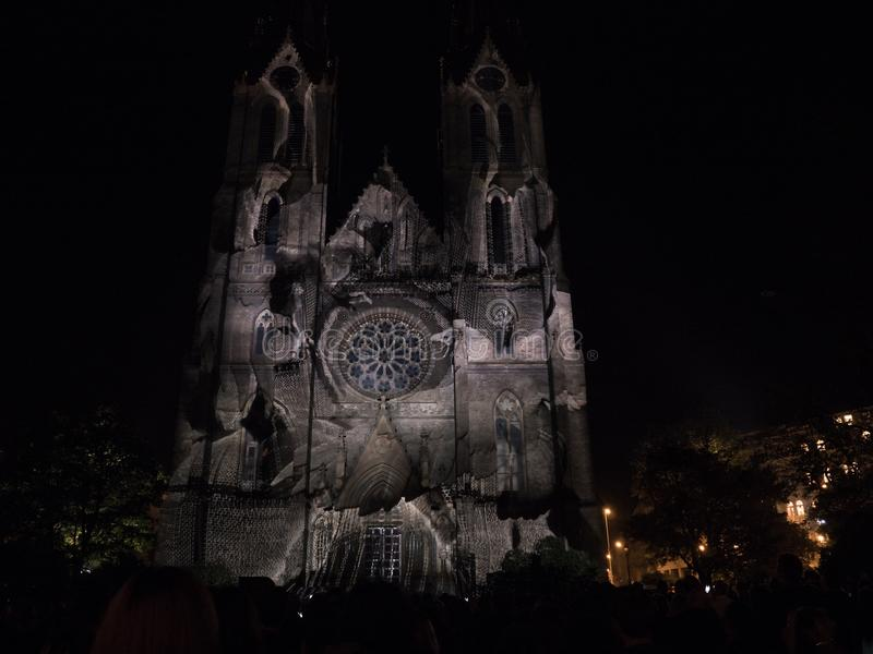 Caryatids by Yann Nguema on Signal Festival Prague 2017. PRAGUE - OCTOBER 15, 2017: Videomapping Caryatids by Yann Nguema on Church of St. Ludmila on Namesti royalty free stock photo