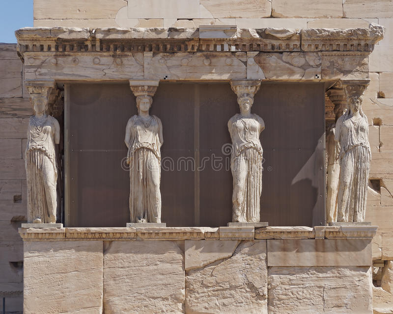 Caryatids young women statues, erechtheion temple stock images