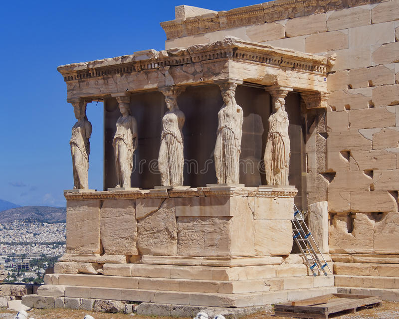 Caryatids young women statues, erechtheion temple. Acropolis of Athens, Greece royalty free stock photography
