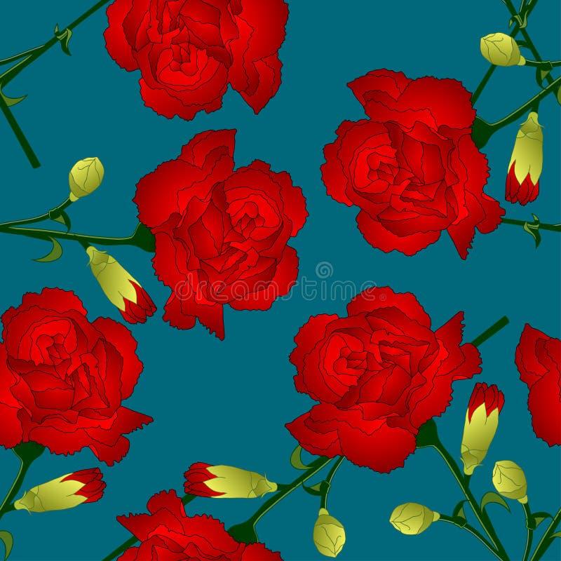 Caryophyllus d'oeillet - fleur rouge d'oeillet sur le fond de bleu d'indigo Illustration de vecteur illustration de vecteur