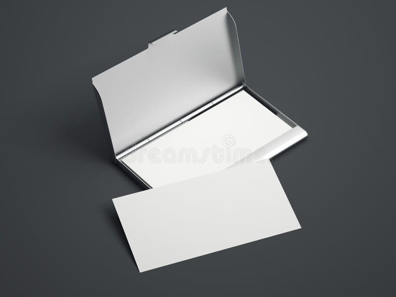 Cas argenté avec les cartes de visite professionnelle vierges blanches de visite rendu 3d illustration libre de droits