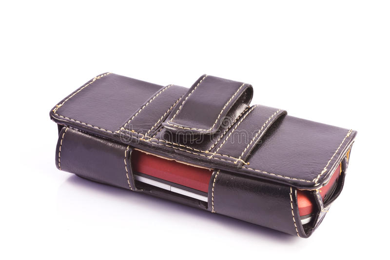 Cas de téléphone portable sur un fond blanc image stock