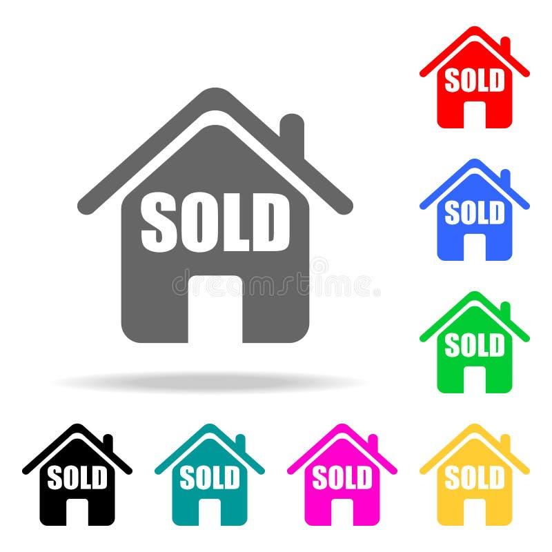 a casa é ícone vendido Elementos de bens imobiliários em multi ícones coloridos Ícone superior do projeto gráfico da qualidade Íc ilustração do vetor