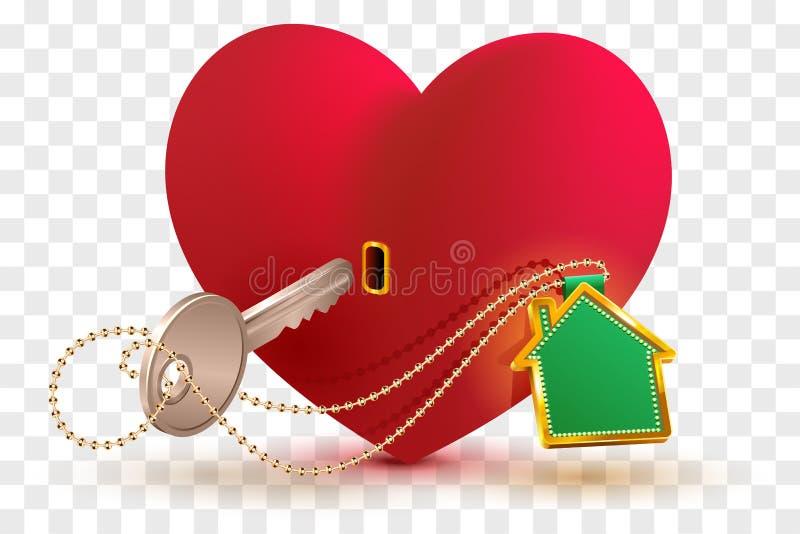 A casa é chave ao coração do seu amado Fechamento vermelho e chave da forma do coração com casa da porta-chaves ilustração stock