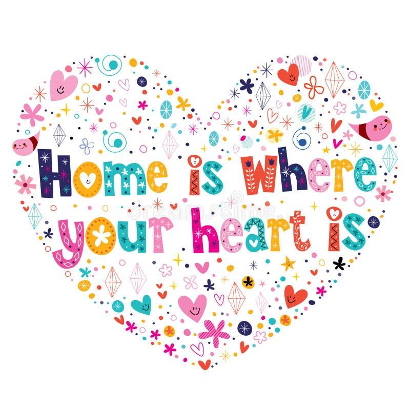 A casa é o lugar onde seu coração é citações ilustração stock