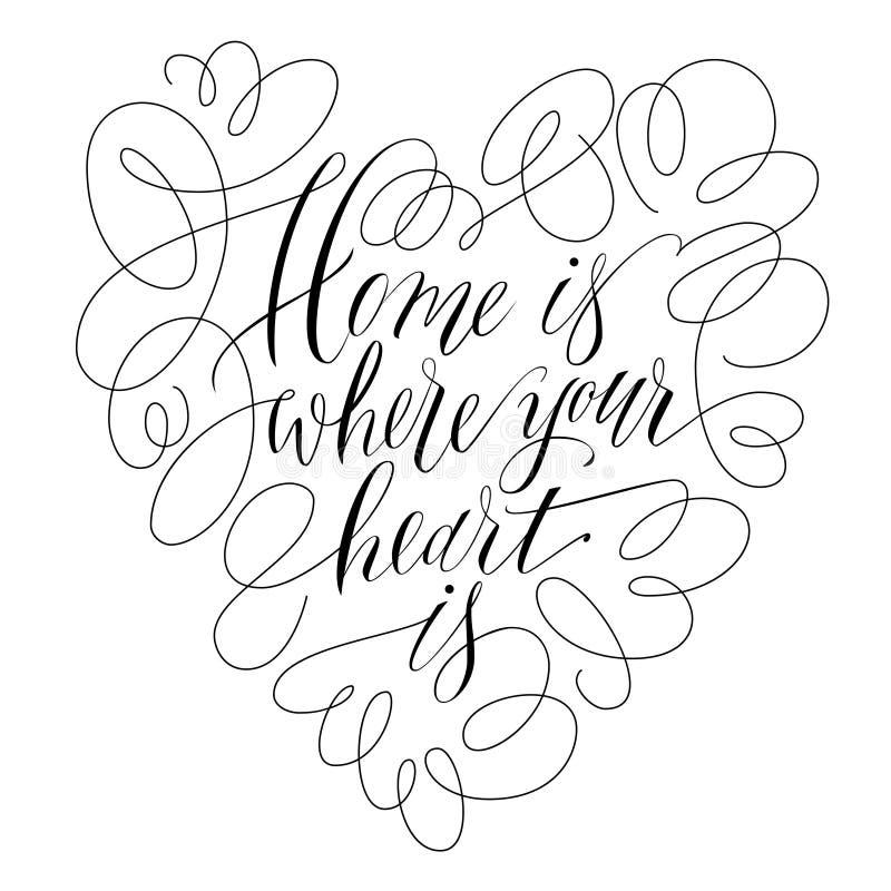 A casa é o lugar onde seu coração está - inscrição handlettering Ilustração do vetor da rotulação ilustração stock