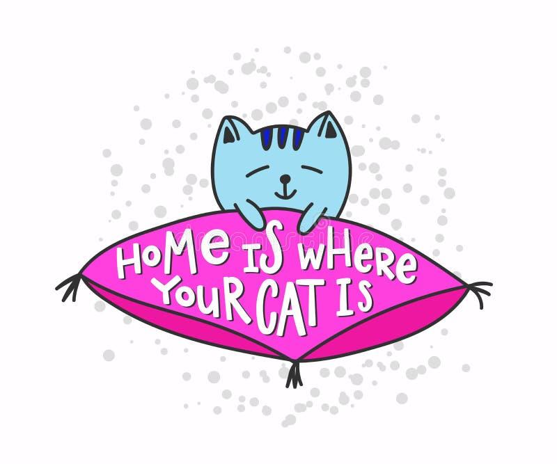 A casa é o lugar onde seu gato é rotulação das citações da camisa ilustração royalty free